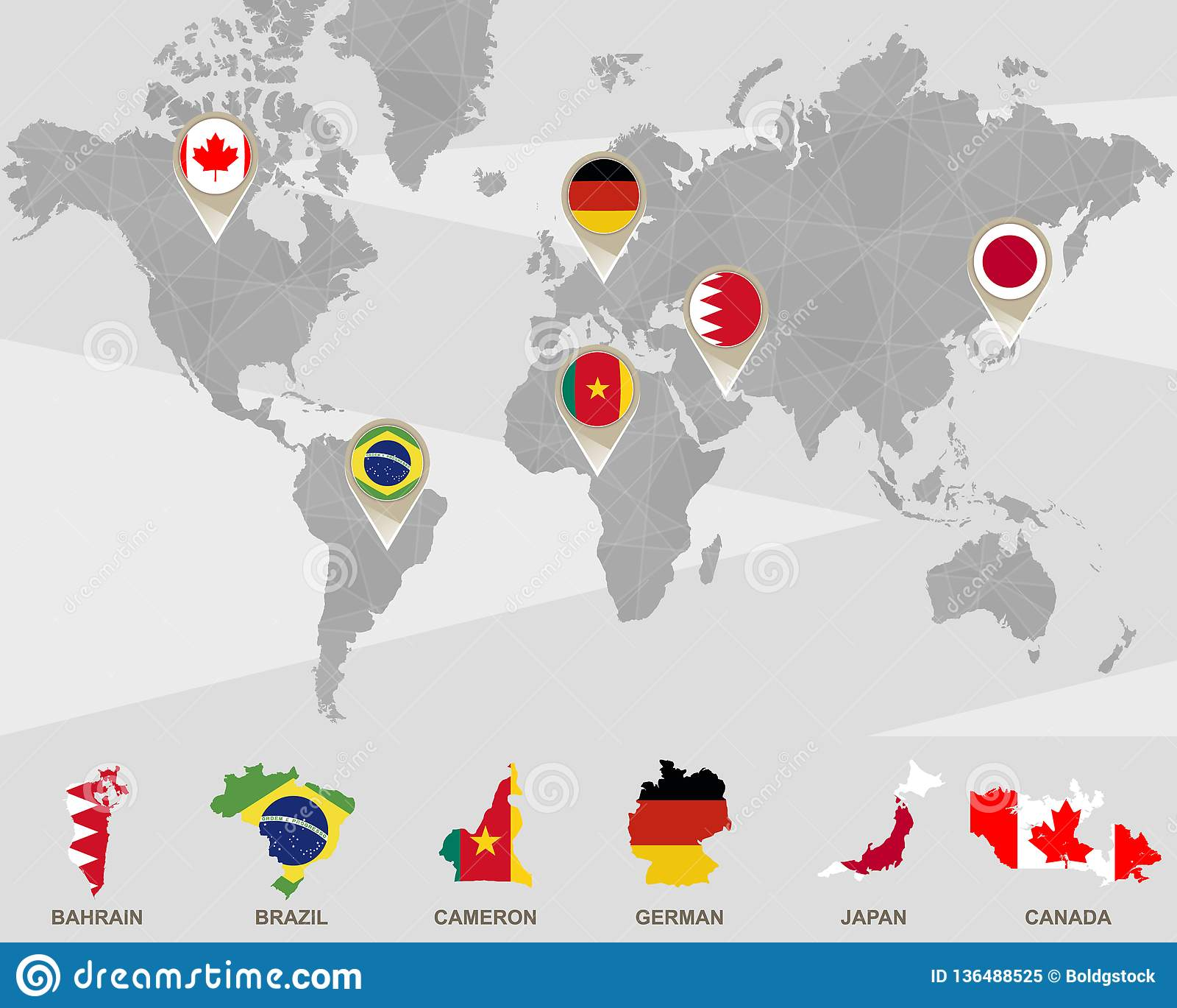 Bahrain On A World Map.World Map With Bahrain Brazil Cameron German Japan Canada