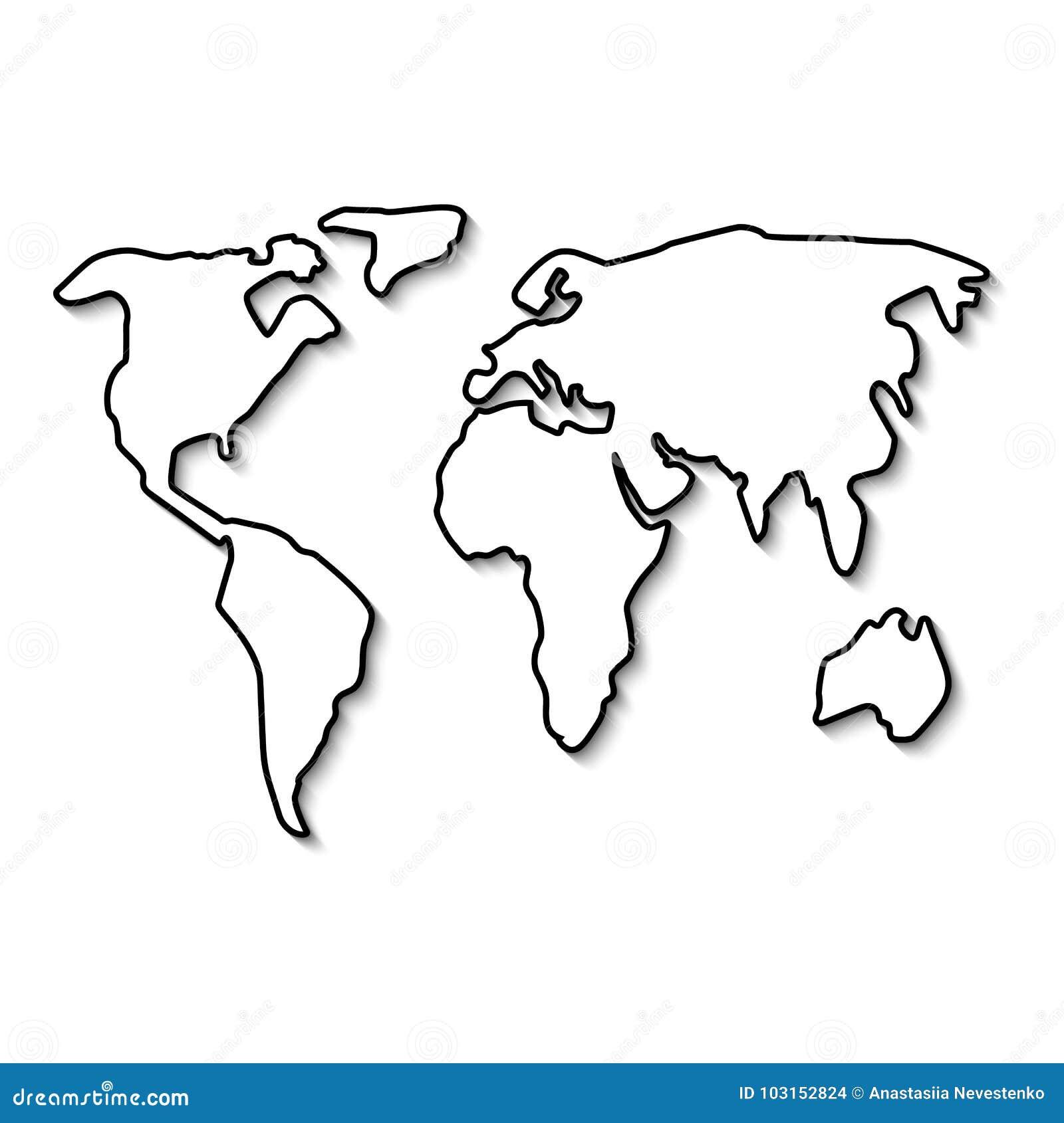 World map black line stock vector. Illustration of earth ...