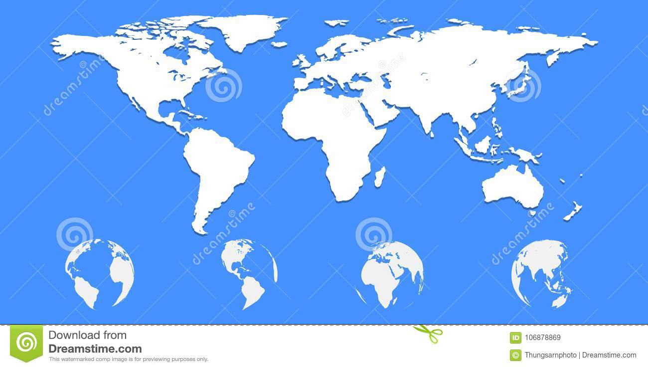 World Map On Blue Background Stock Vector - Illustration of graphic ...