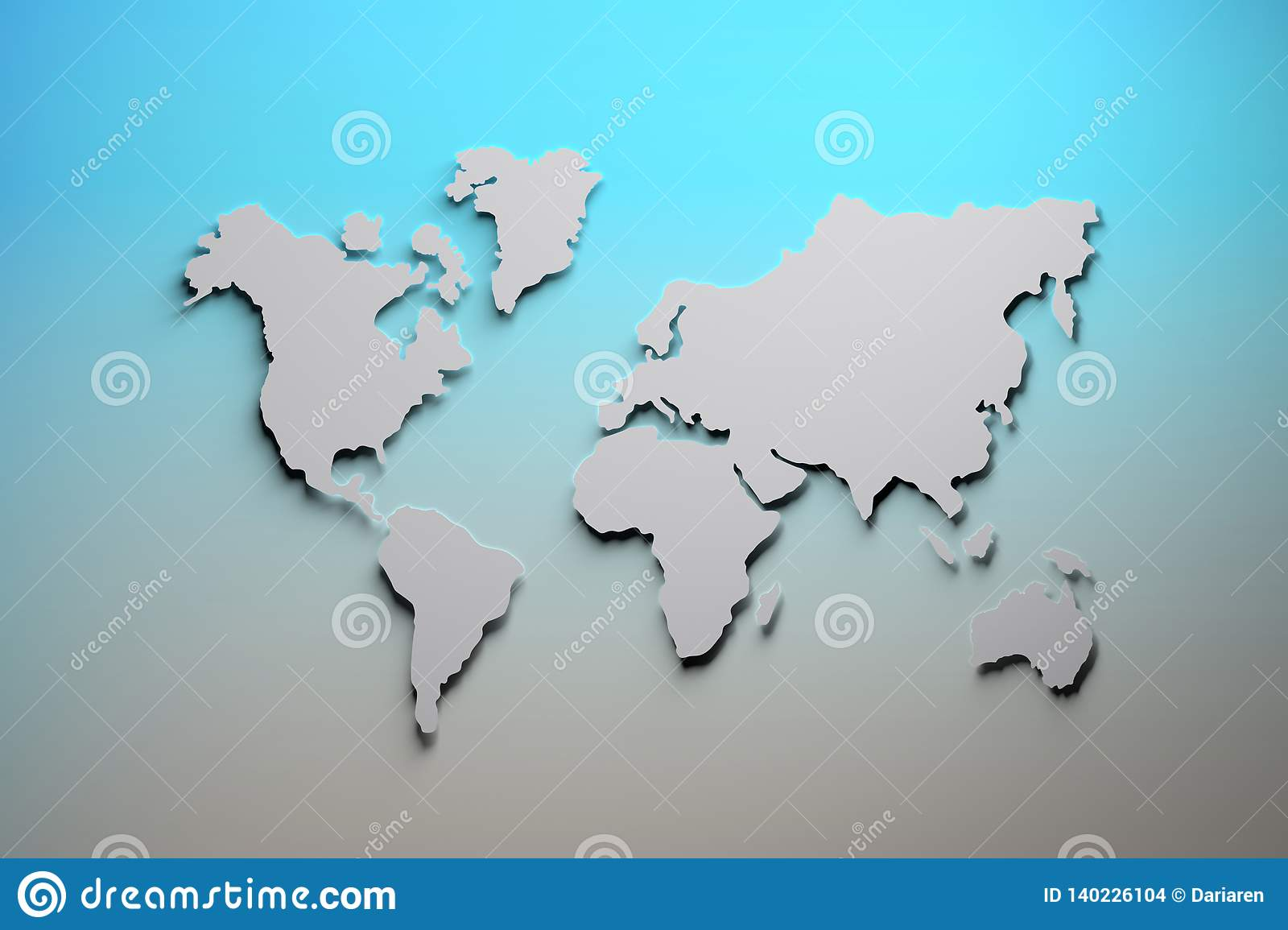 World Map In Blue And Gray Colors Stock Illustration Illustration
