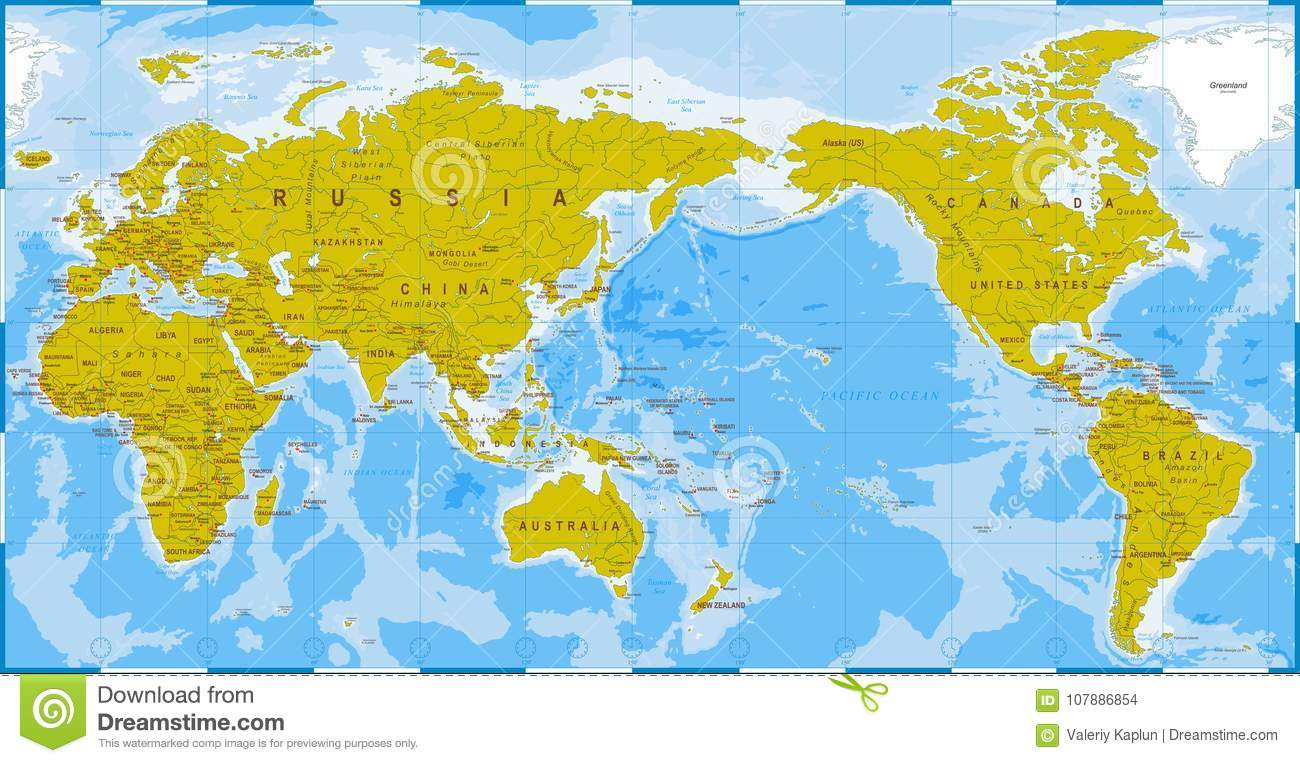 World Map Blue Green Detailed Asia In Center Stock Illustration - World-map-with-us-in-center