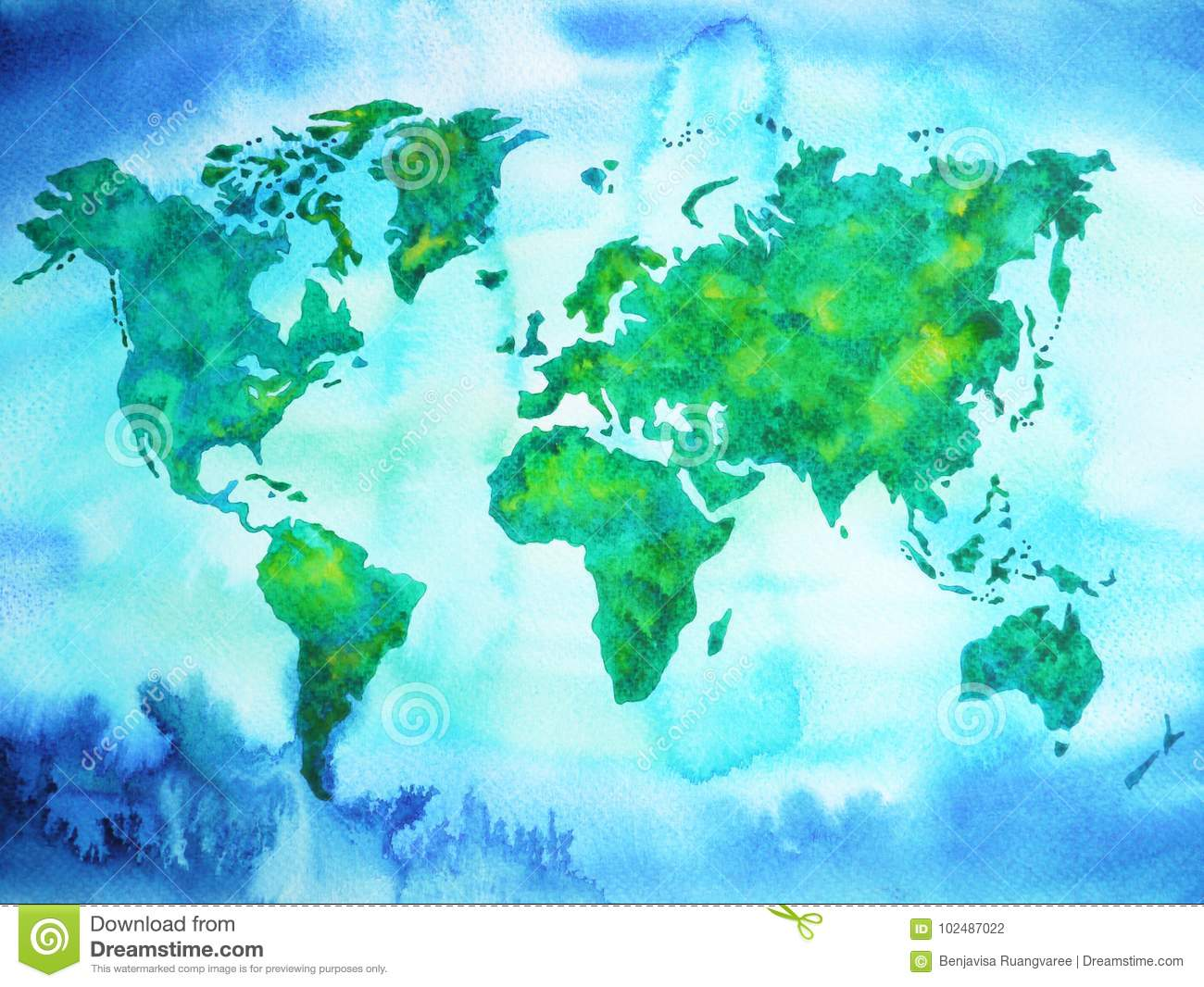 World map blue green tone watercolor painting on paper hand drawing world map blue green tone watercolor painting on paper hand drawing concept globe royalty free illustration gumiabroncs Images