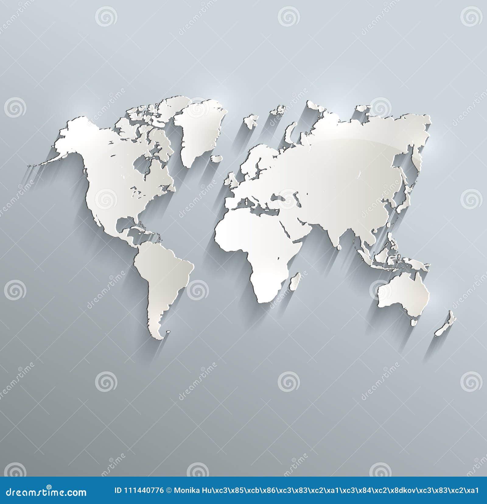 World Map Blue White Card Paper 3d Stock Vector Illustration Of