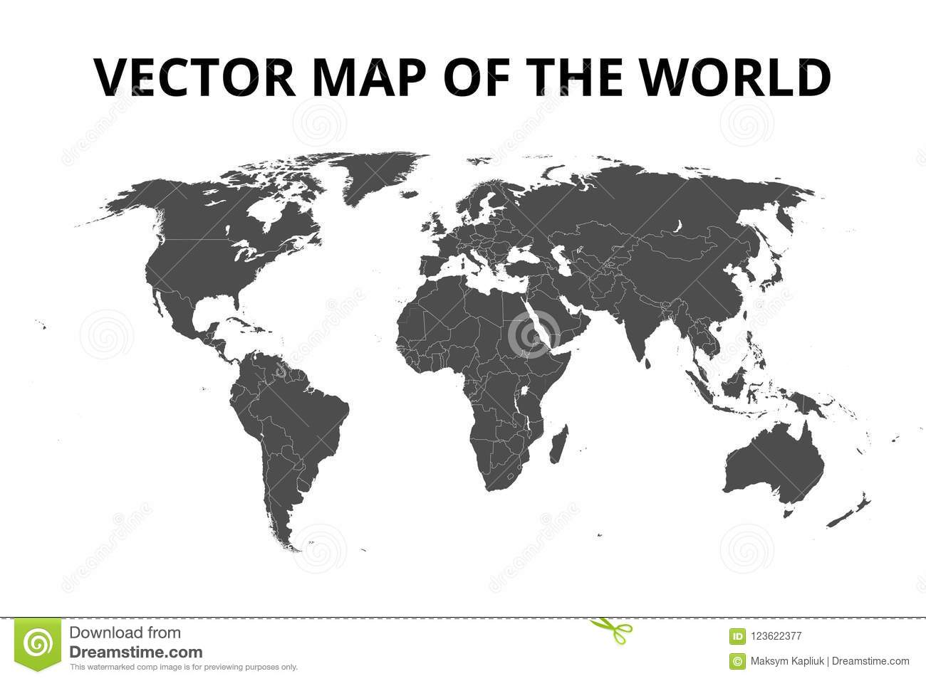 World Map With Borders Vector Illustration Stock Vector