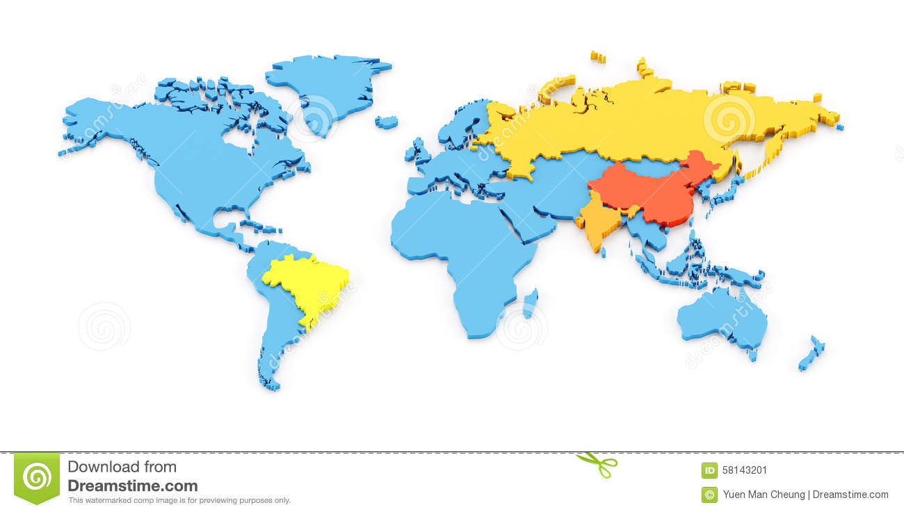 World map of BRIC stock illustration. Illustration of ...