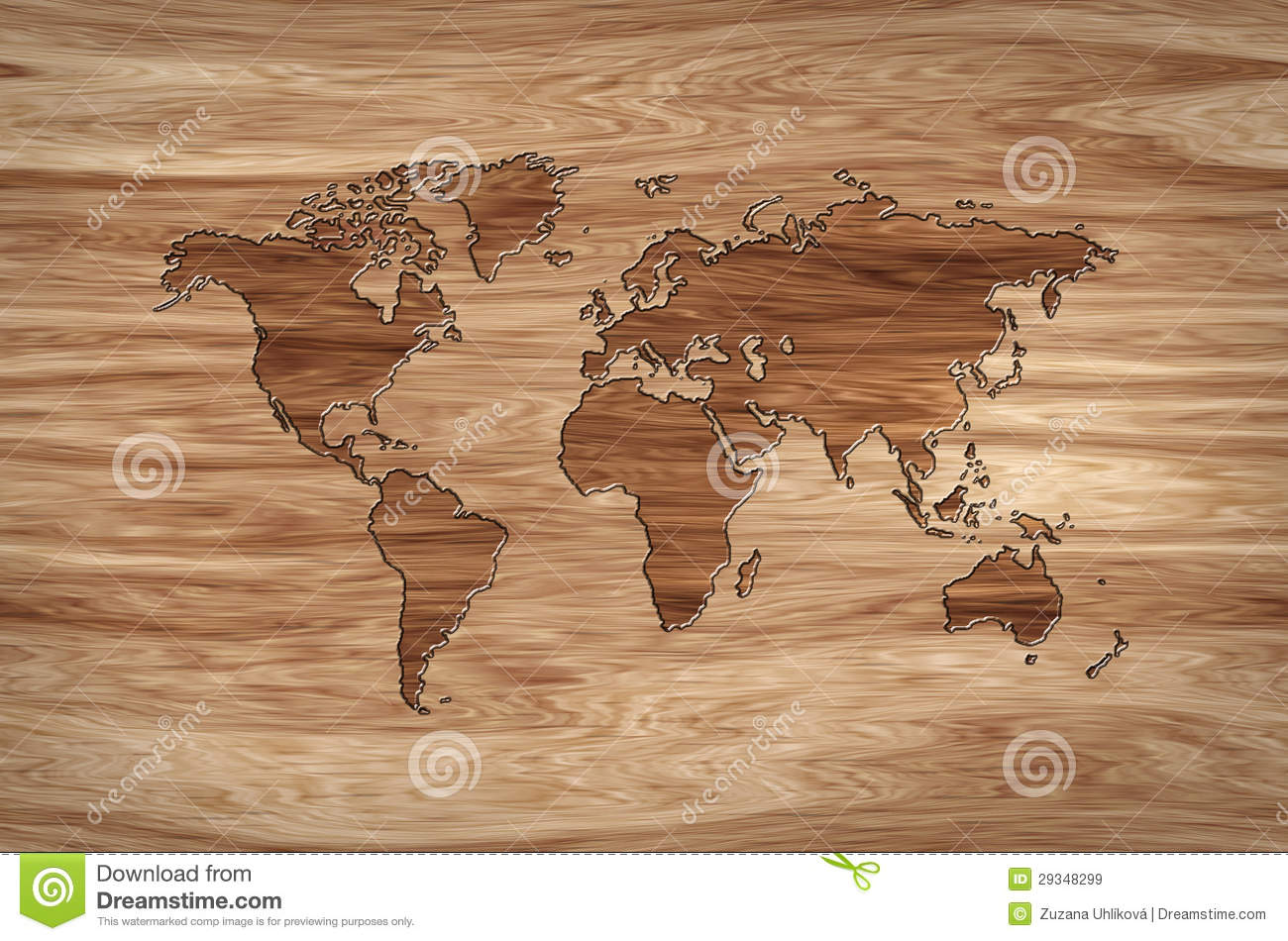 World map carved in wood stock illustration Image of brown 29348299