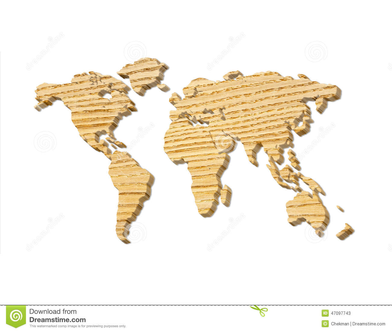 World map carving on wood plank stock illustration image
