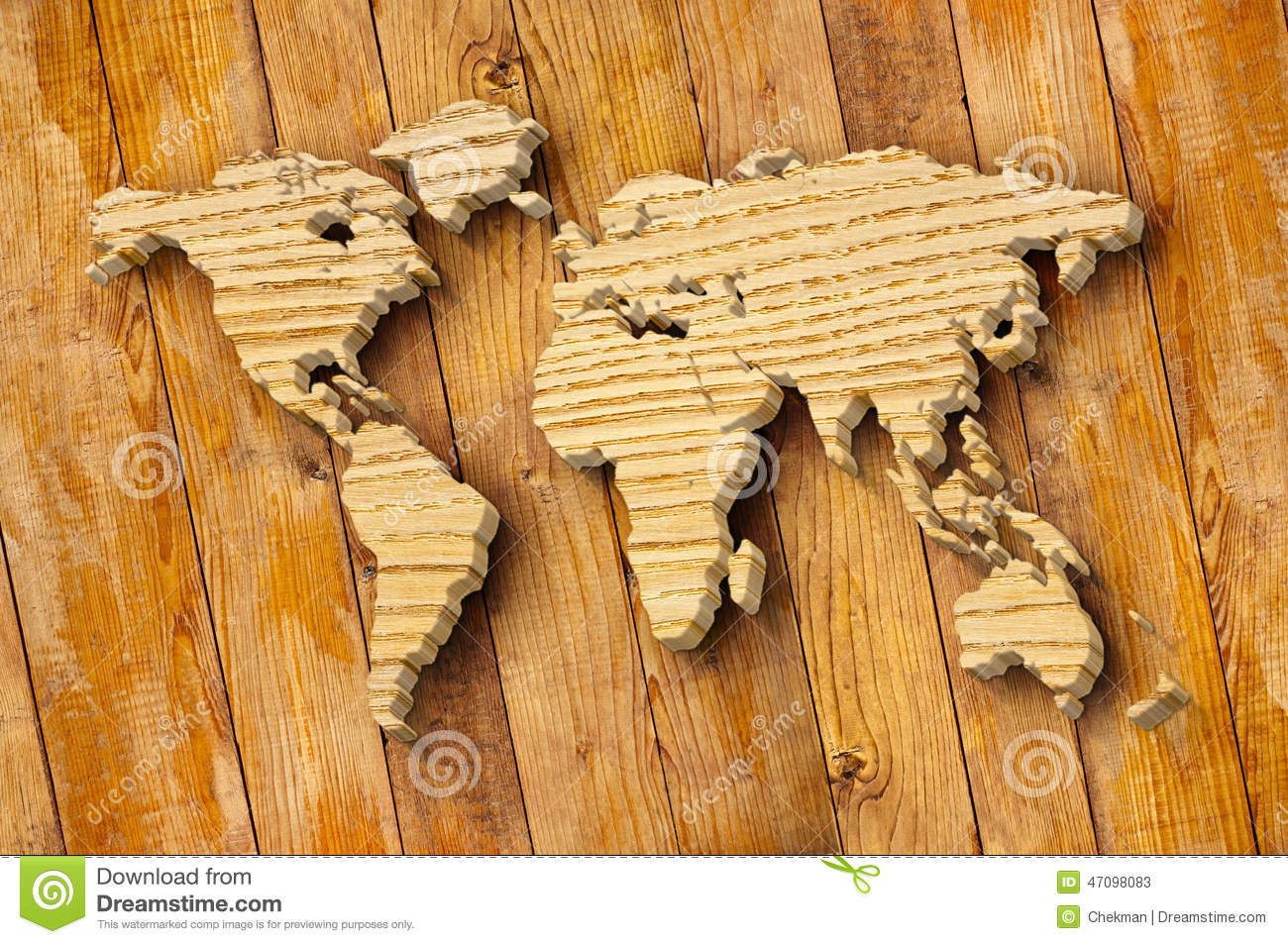 World Map Carving On Wood Plank Stock Illustration ...