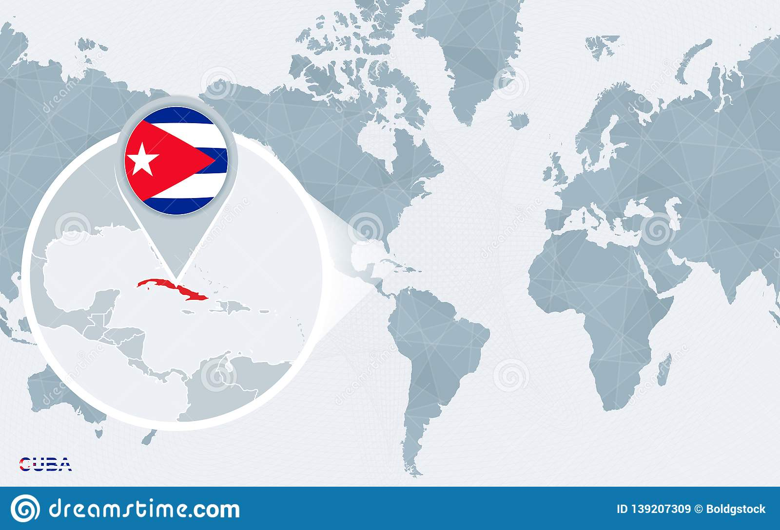 World Map Centered On America With Magnified Cuba Stock ...