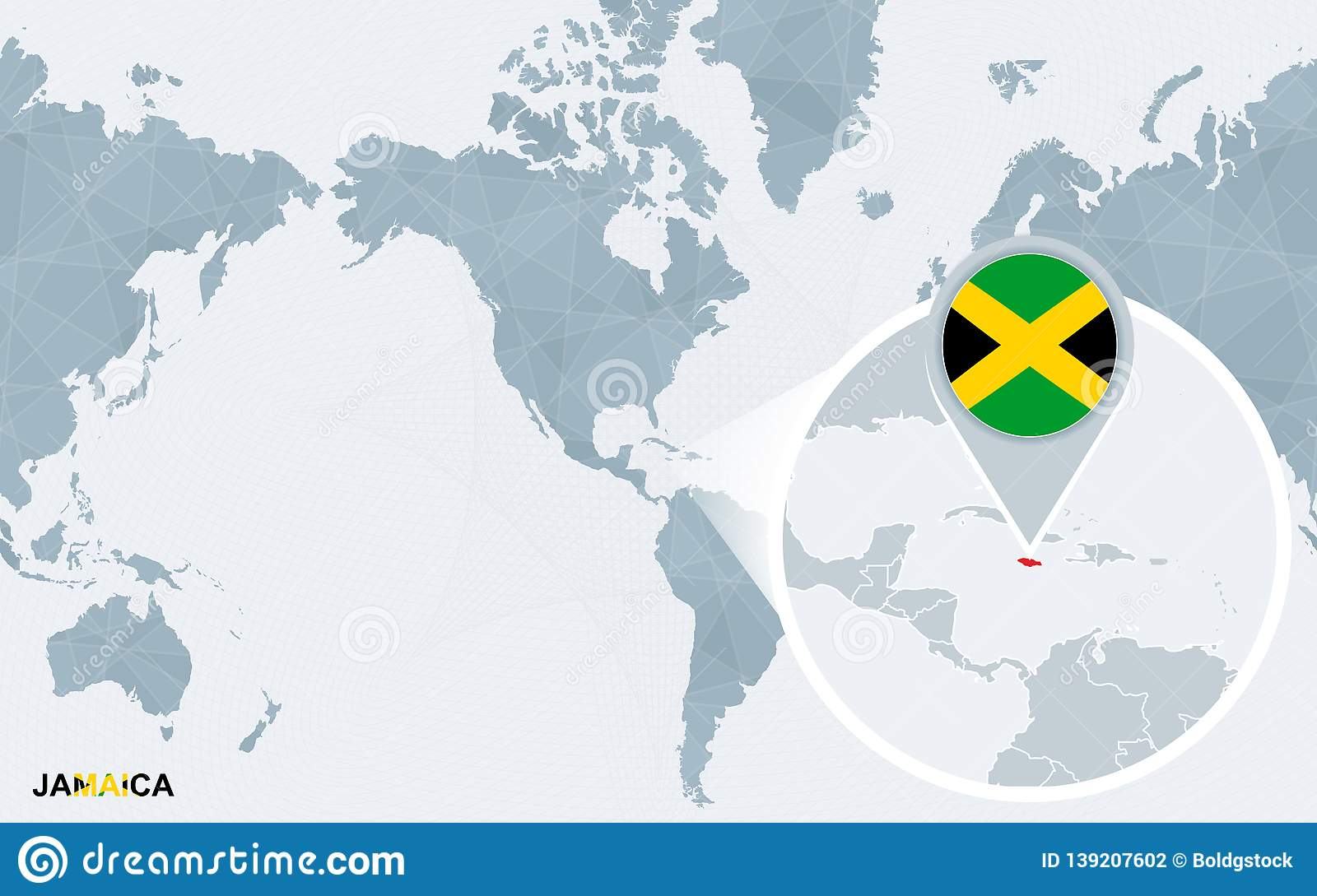 World Map Centered On America With Magnified Jamaica Stock ...