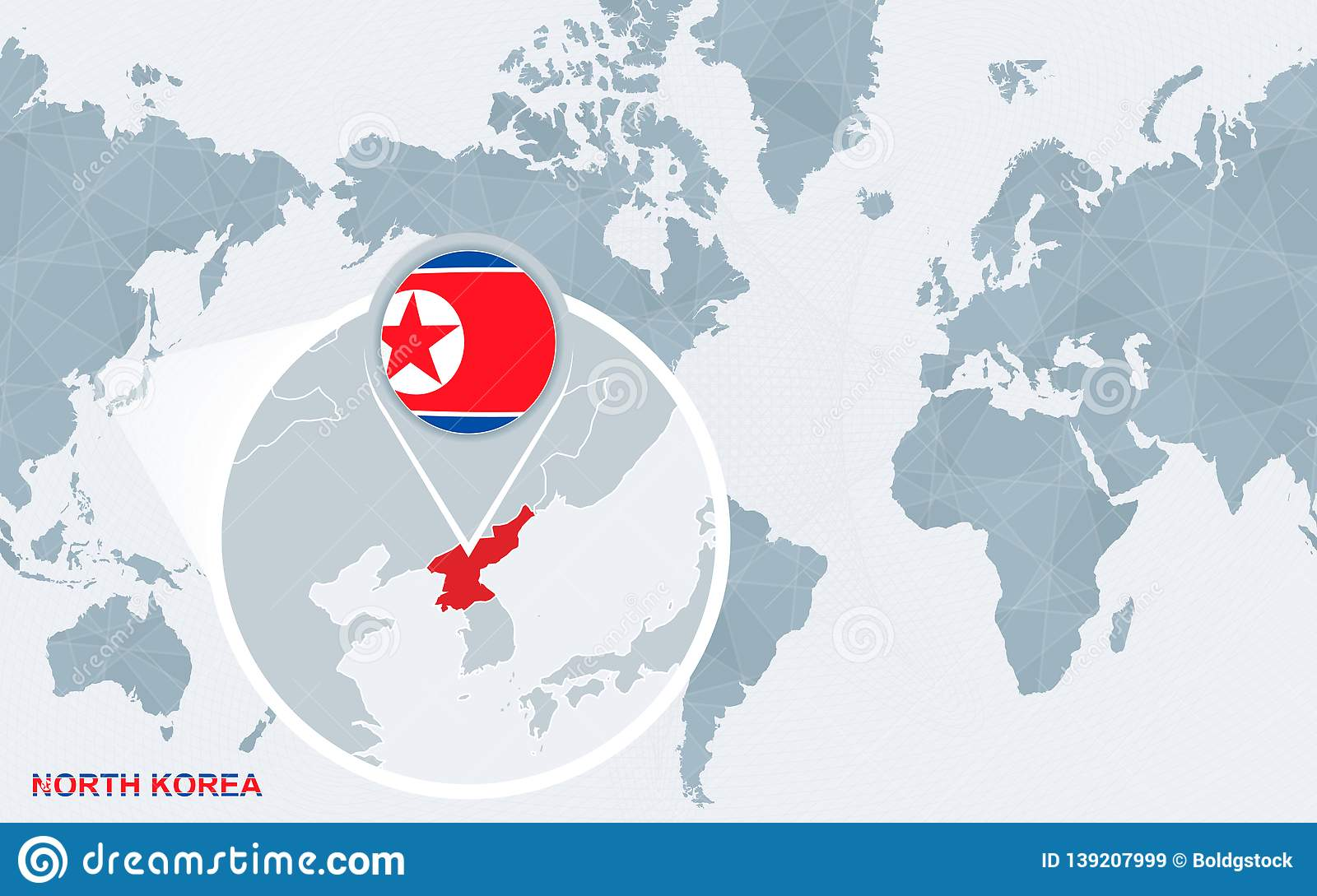 World Map Centered On America With Magnified North Korea Stock ... on korean peninsula on world map, japan korea map, south korea world map, north korea map, seoul korea on world map,
