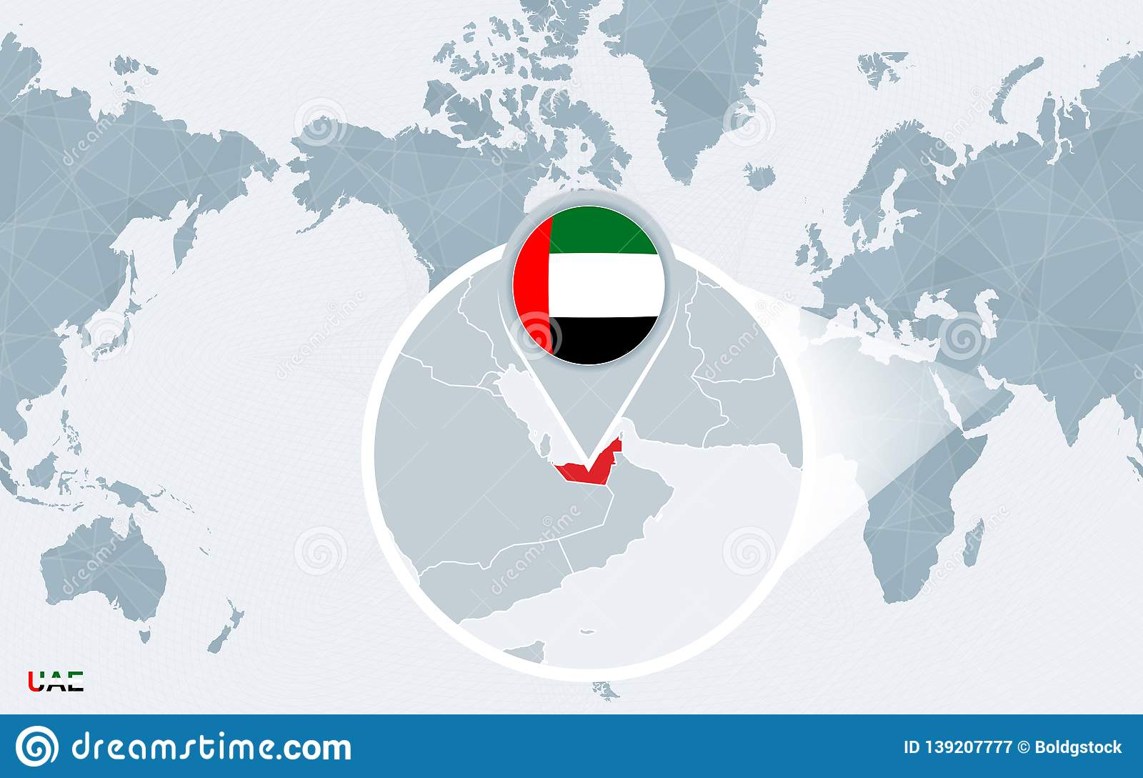 Map Of Asia United Arab Emirates.World Map Centered On America With Magnified United Arab Emirates