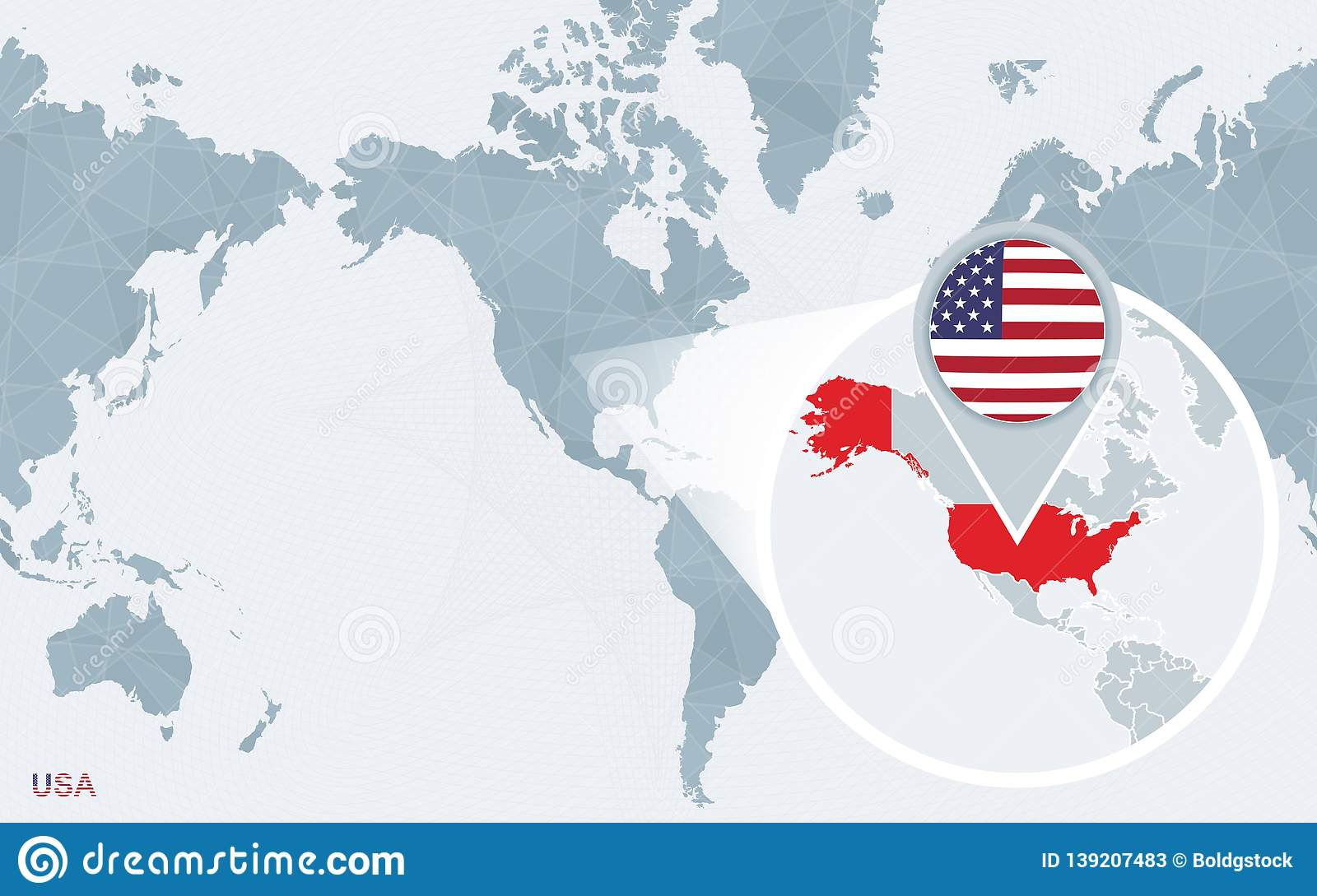 World Map Centered On America With Magnified United States ...