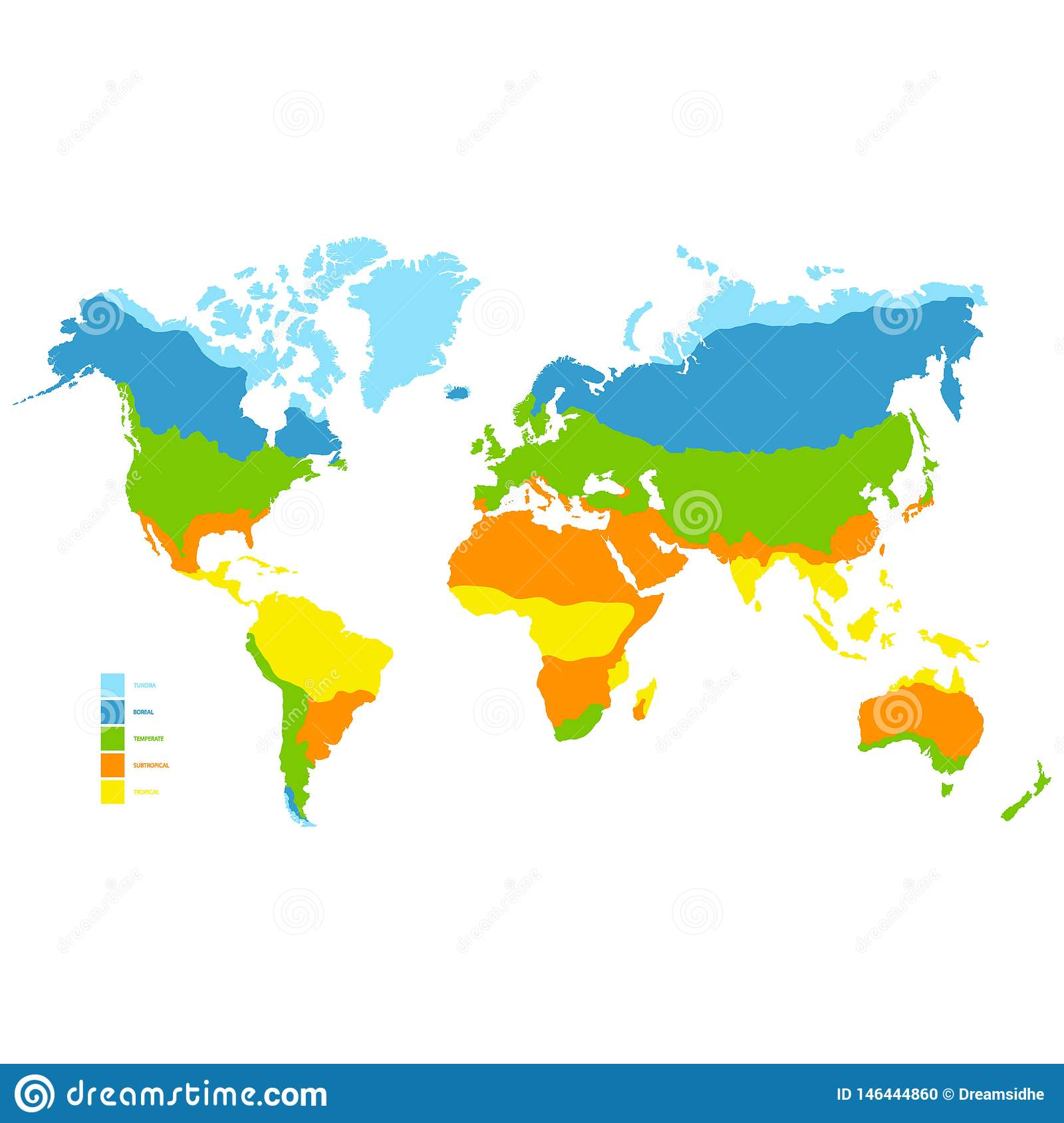 World Map With Climate Zone Stock Vector - Illustration of zone