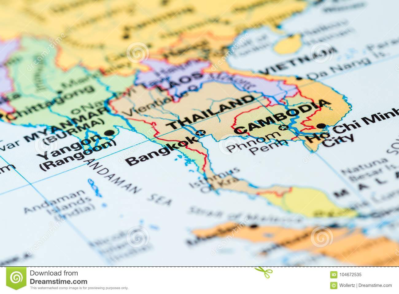 Thailand on a map stock image. Image of detail, region ...