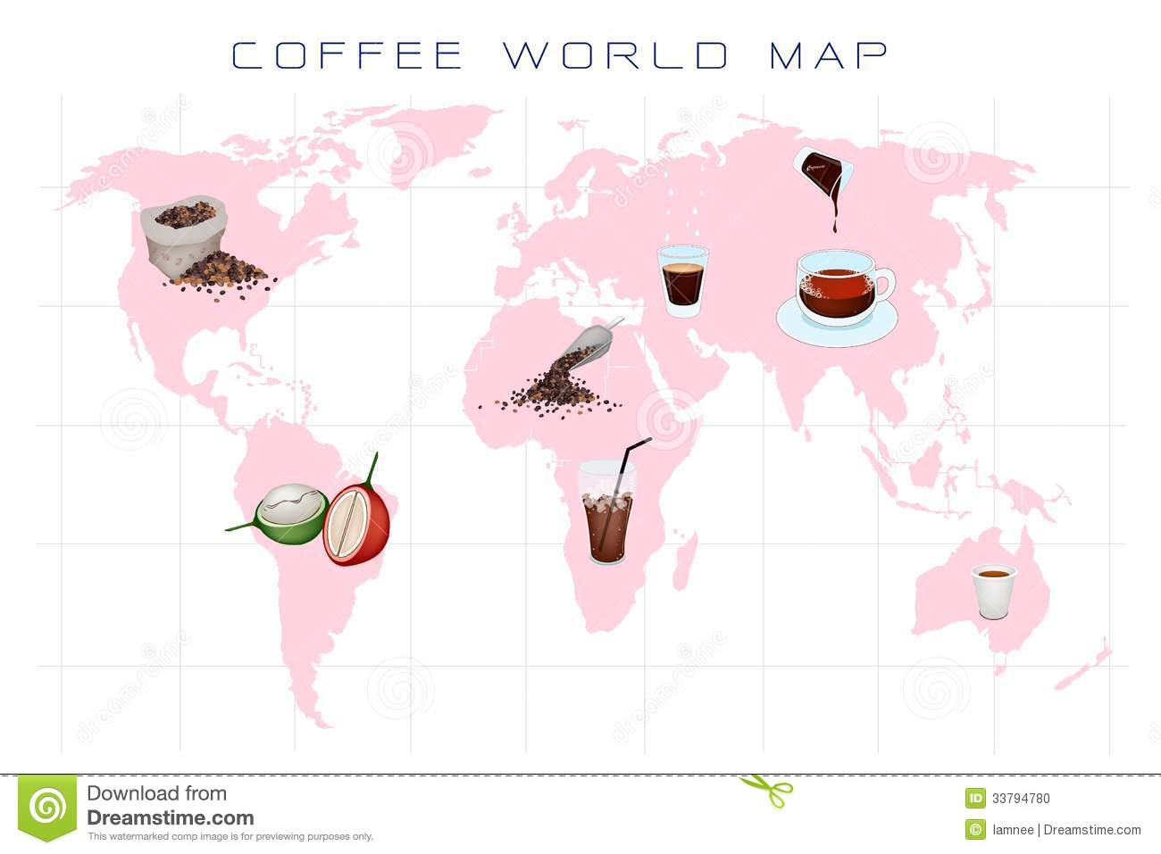 World Map With Coffee Production And Consumption Stock Photo - Image ...