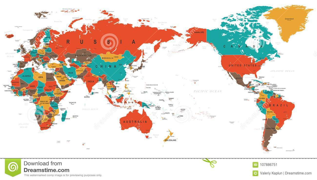 World map color detailed asia in center stock illustration world map color detailed asia in center stock illustration illustration of north medium 107886751 gumiabroncs Gallery