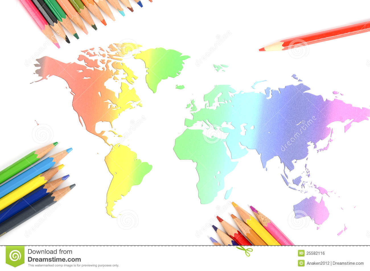 World Map And Color Pencil Royalty Free Stock Image