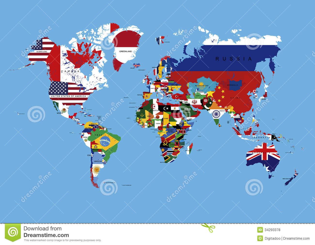 World Map Colored In Countries Flags & Names Stock