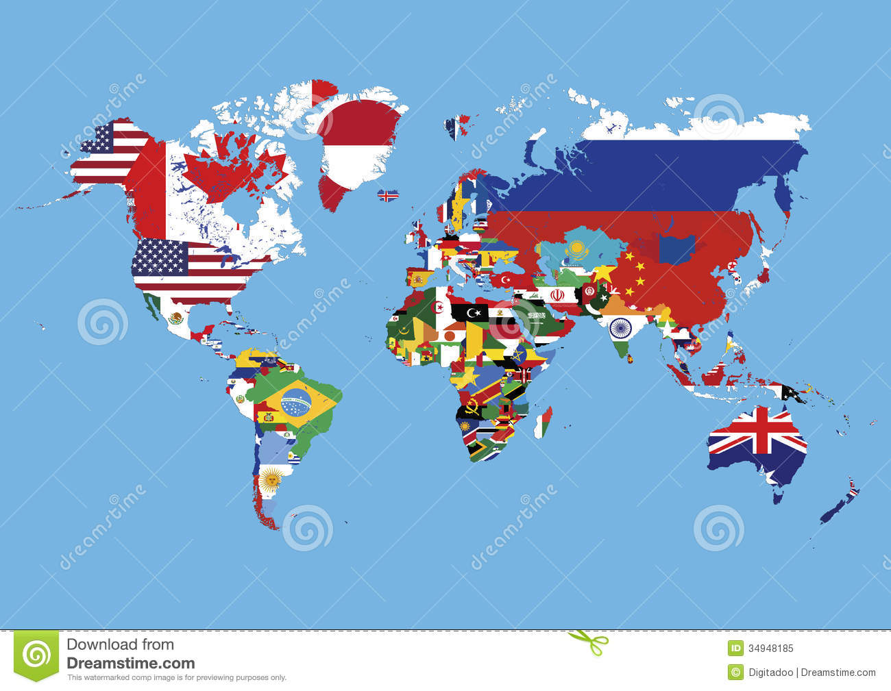 World map colored in countries flags no names stock illustration world map colored in countries flags no names gumiabroncs Image collections