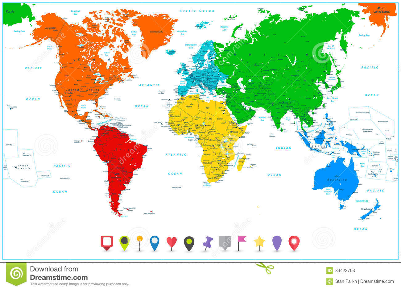 World Map With Colorful Continents And Flat Map Pointers Stock ... on