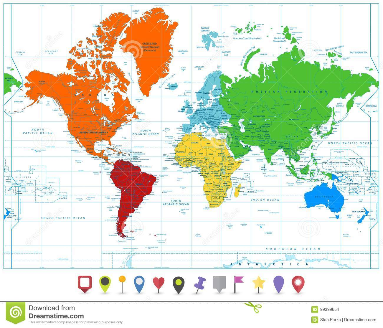 World map with colorful continents and flat map pointers isolate download comp gumiabroncs Image collections