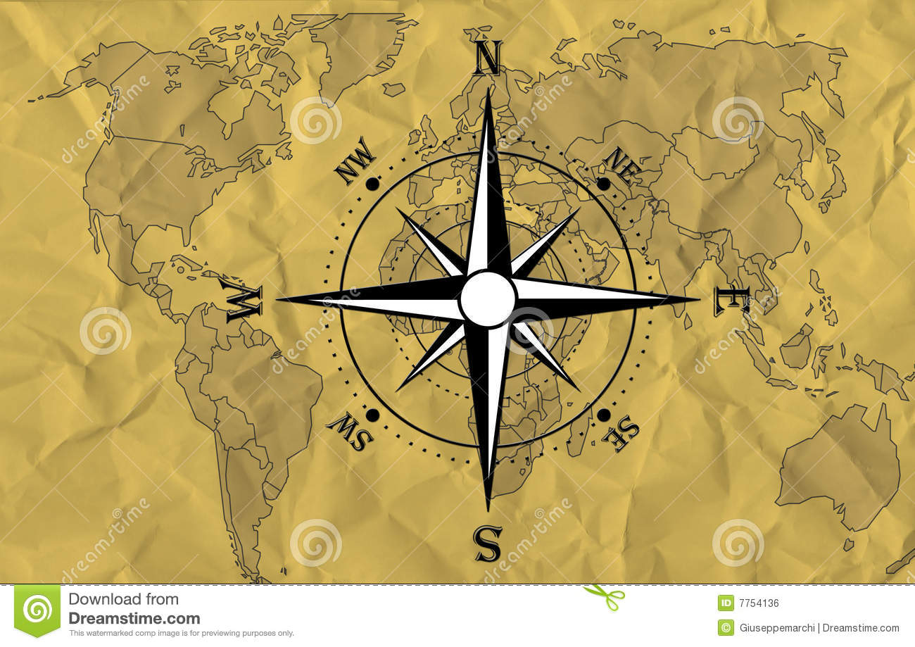 World map with compass stock illustration. Illustration of