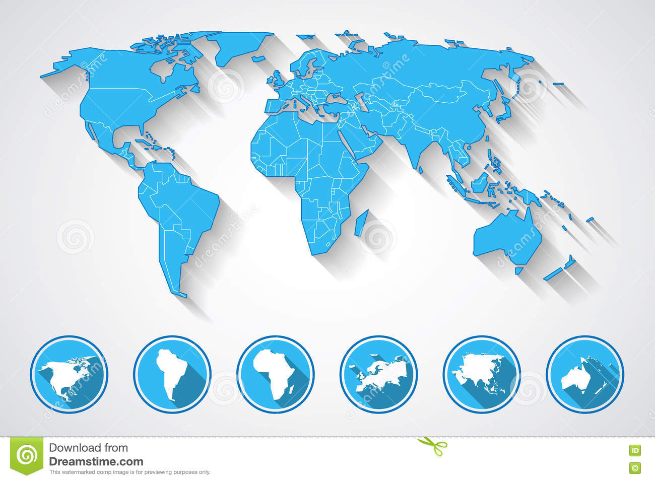 World Map And Continent Icons Stock Illustration Illustration Of
