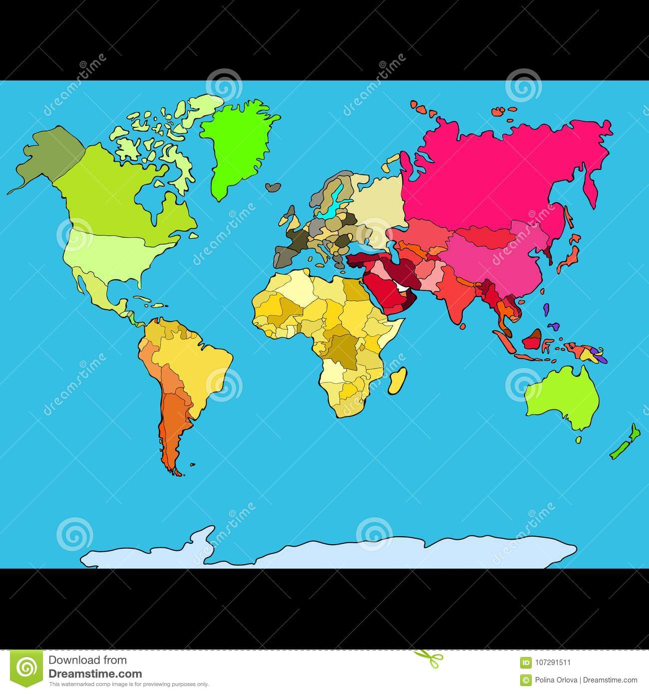 World Map Continents And Countries. Vector Illustration ...