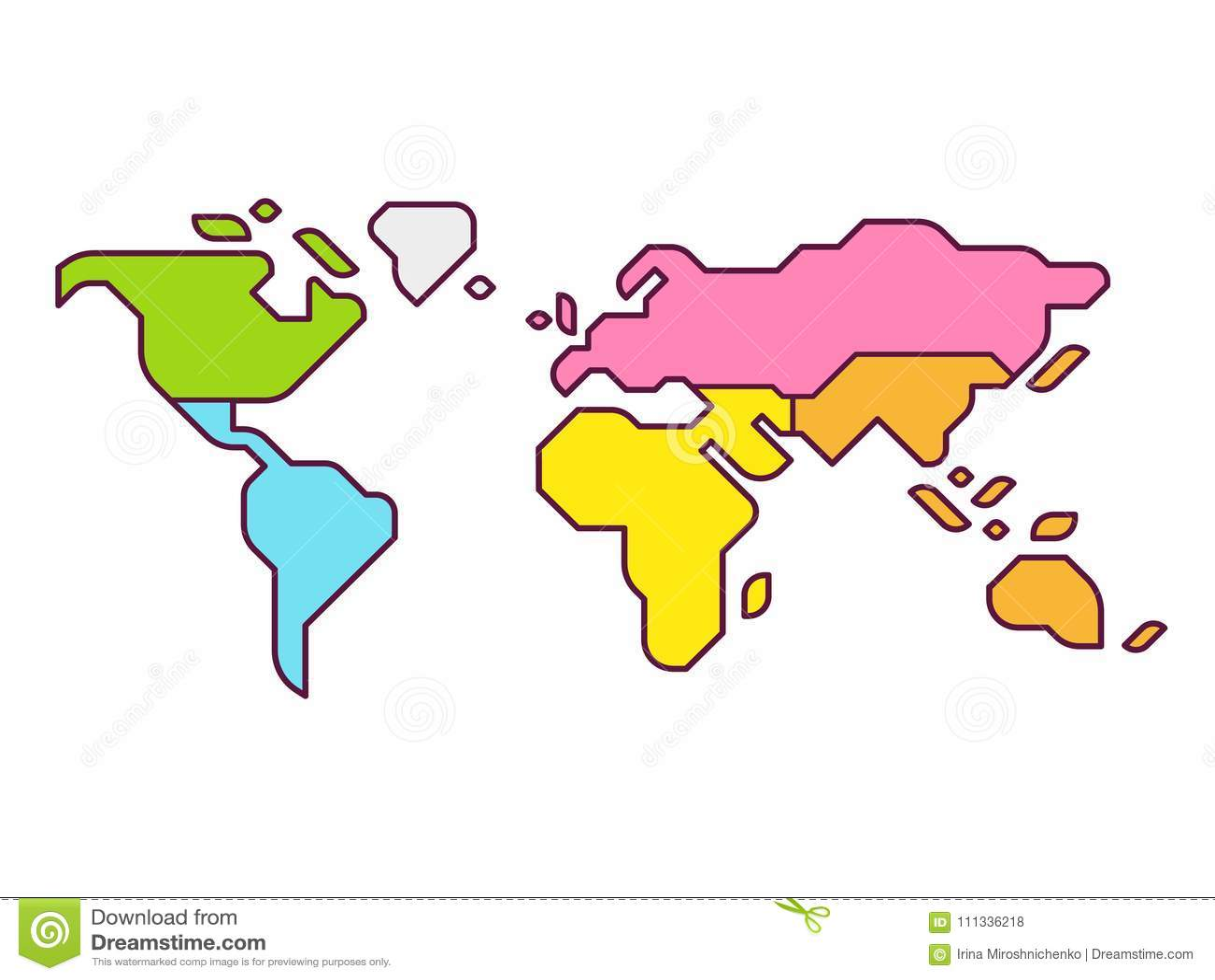 carte du monde dessin simplifié World map continents stock vector. Illustration of geography