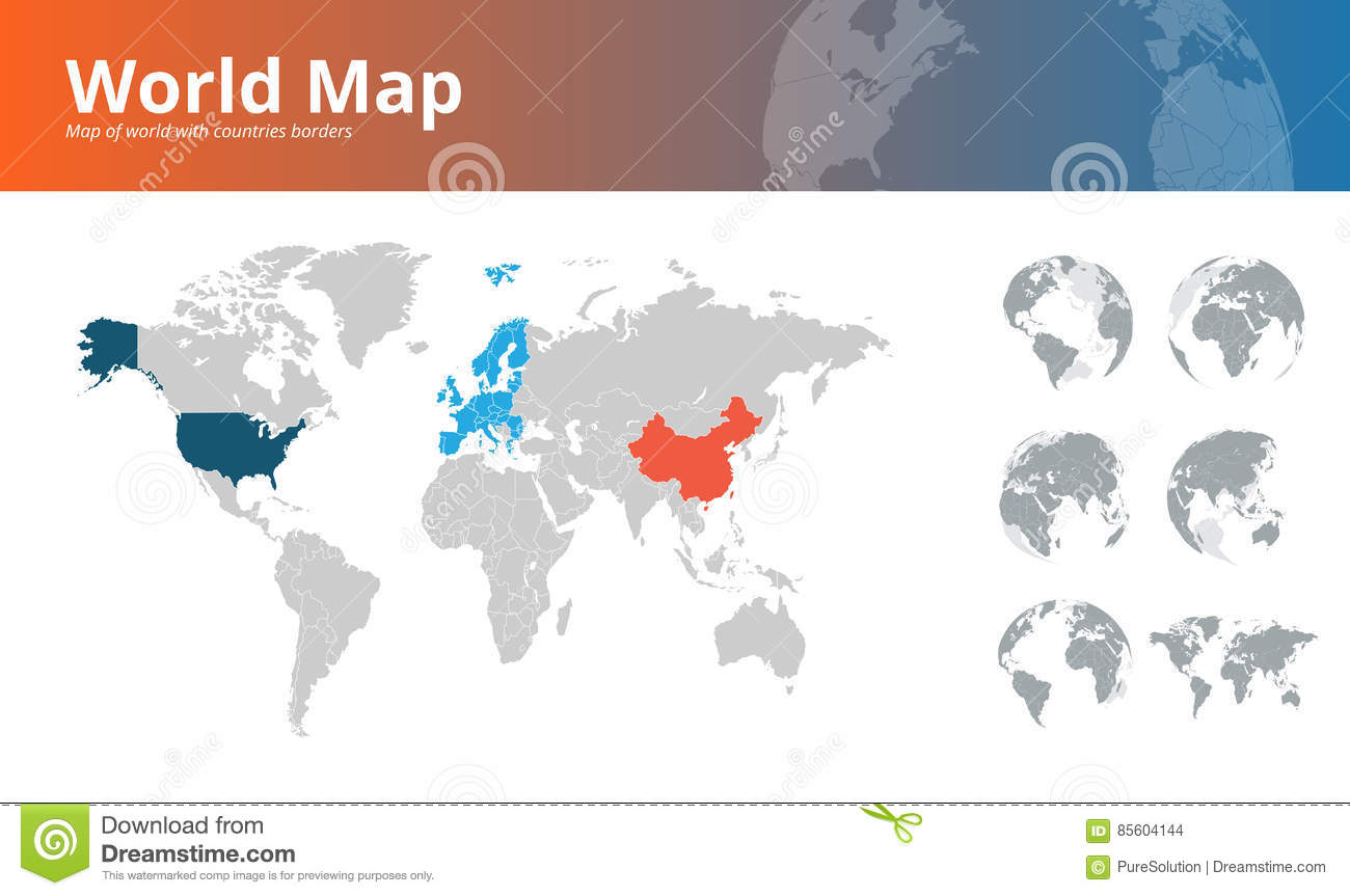 world map with countries borders and earth globes showing all