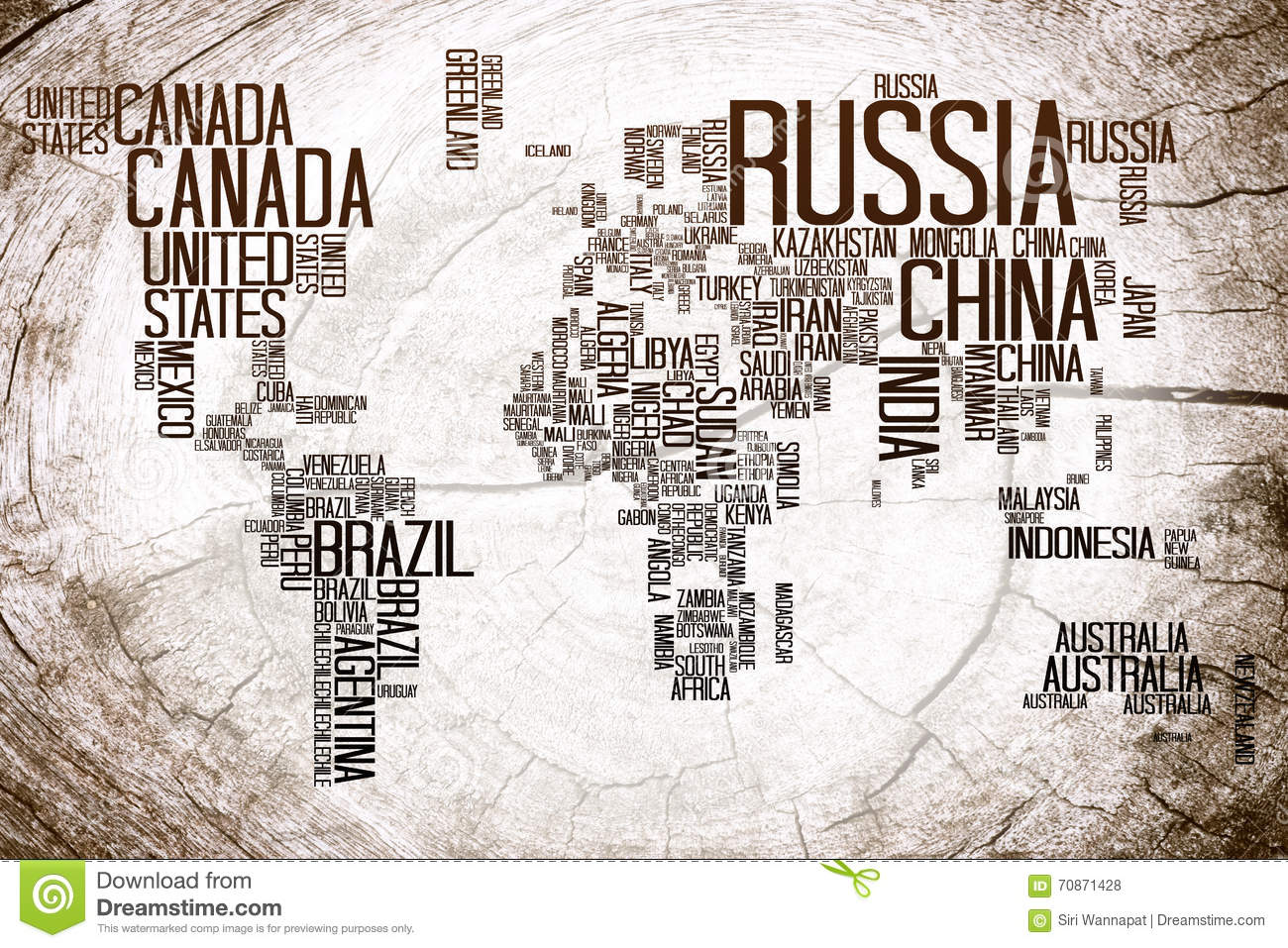 World Map Countries Name On Lumber Stock Illustration