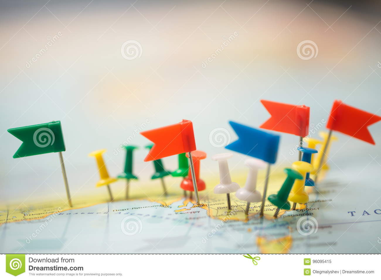 world map country flags marked pin city pinpoint stock