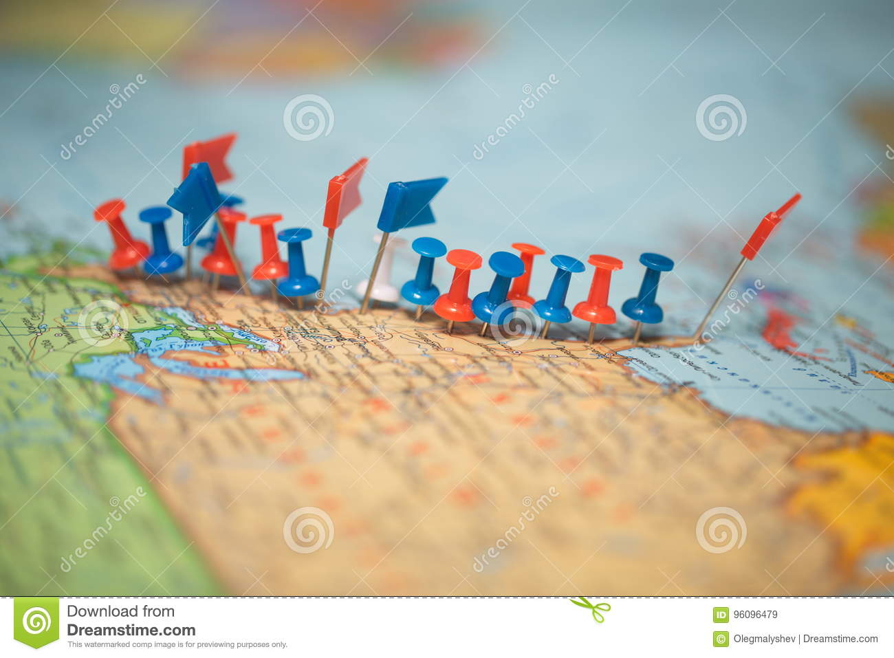world map country flags marked pin city pinpoint stock image image