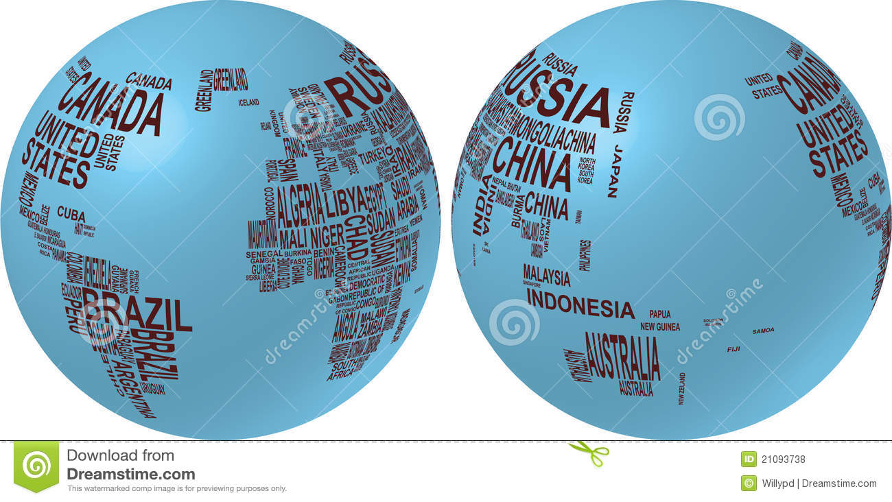 World Map With Country Name Stock Vector - Illustration of english ...