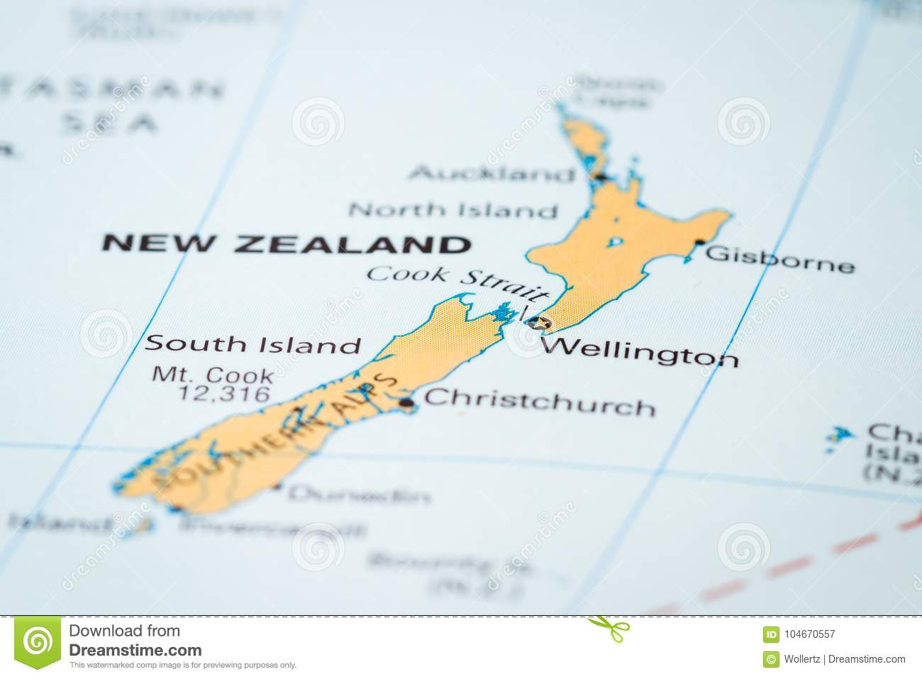 A Map Of New Zealand.New Zealand On A Map Stock Image Image Of Area Destination 104670557