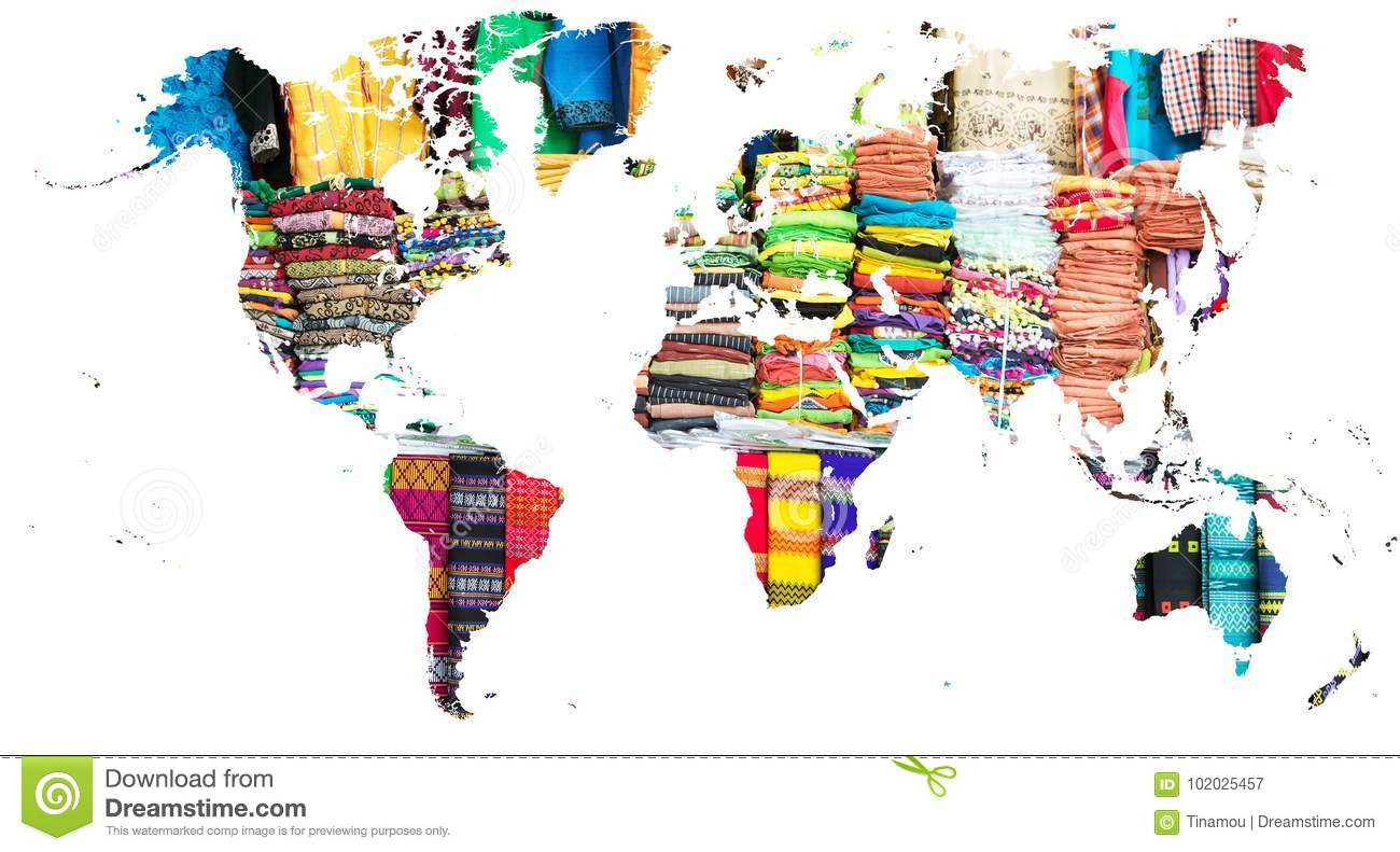 World Map Cut Out In Multi Colored Fabrics Of Myanmar Stock