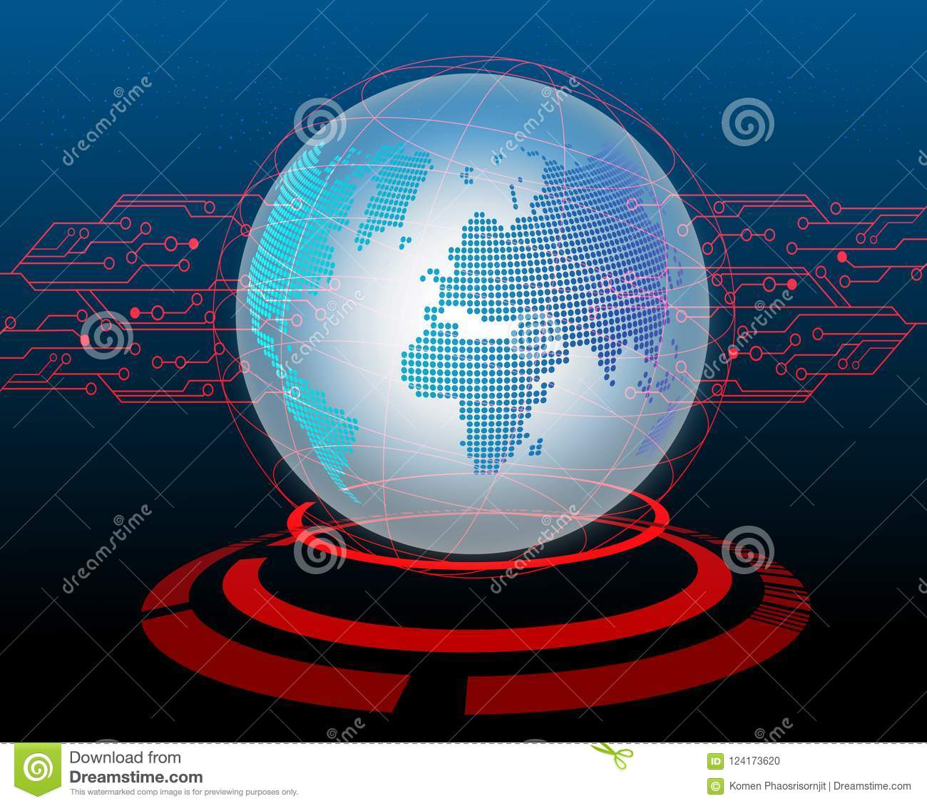 World map Cyber attack by hacker Circuit concept background.