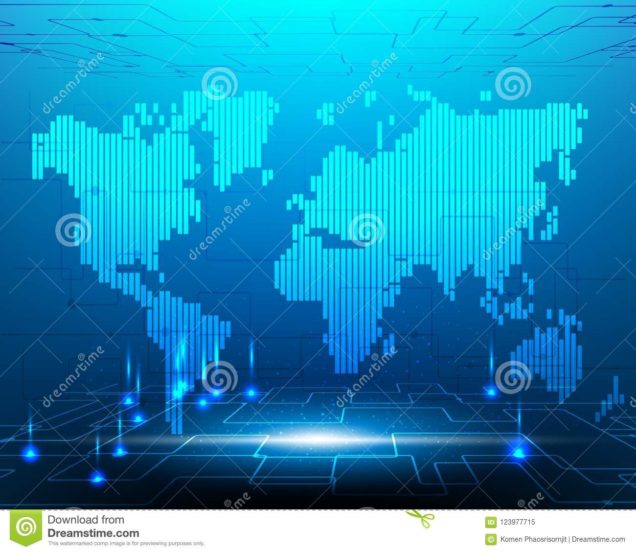 World map cyber system transformation internet fiber optic cable