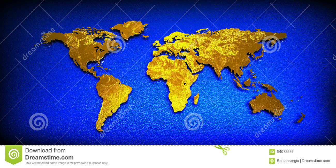World map 3d gold stock illustration illustration of asia 64072536 world map 3d gold gumiabroncs Image collections