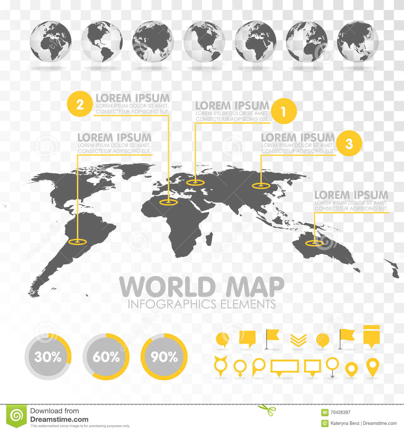 World map 3d with set of infographics elements stock vector download world map 3d with set of infographics elements stock vector illustration of concept gumiabroncs Gallery