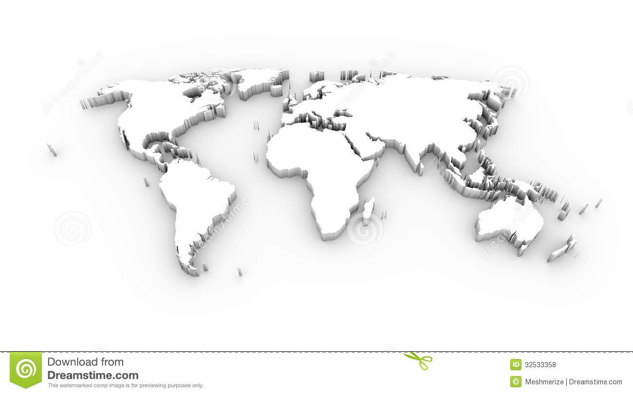 ... World Map High Resolution Black And White World Map 3d White With  Clipping Path Stock Illustration ...