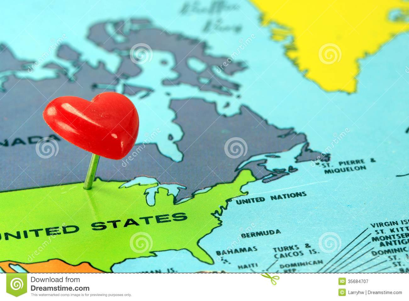 World Map With Destination Pin United States Royalty Free Stock - Us map close up