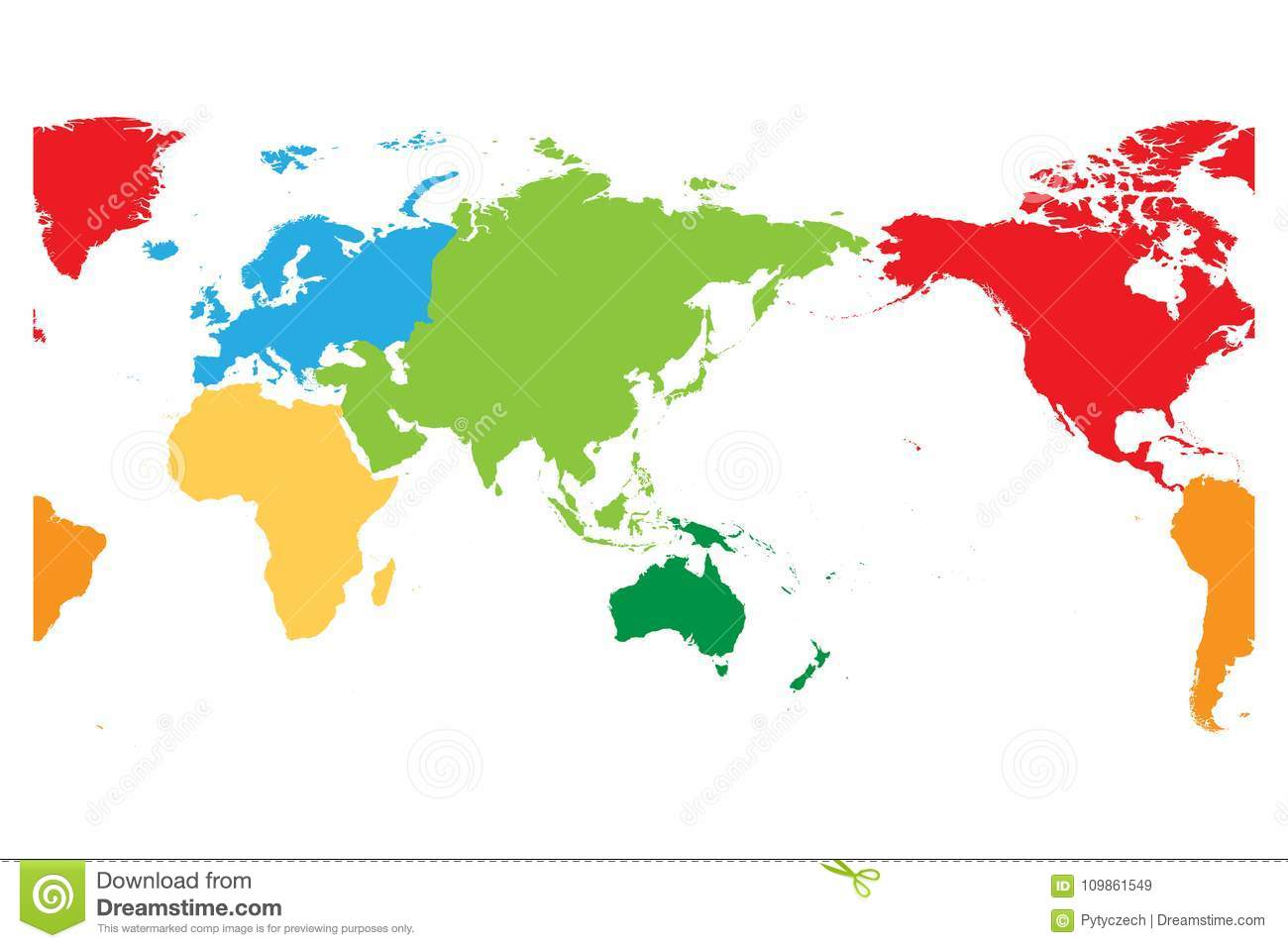 Australia In World Map.World Map Divided Into Six Continents Asia And Australia Centered