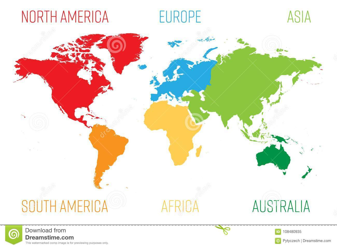 World Map Divided Into Six Continents Each Continent In Different