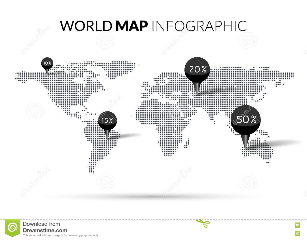 World map with points stock vector illustration of internet 68521059 world map dot illustration infographics with points pins and percentage halftone dotwork vector illustration royalty gumiabroncs Choice Image