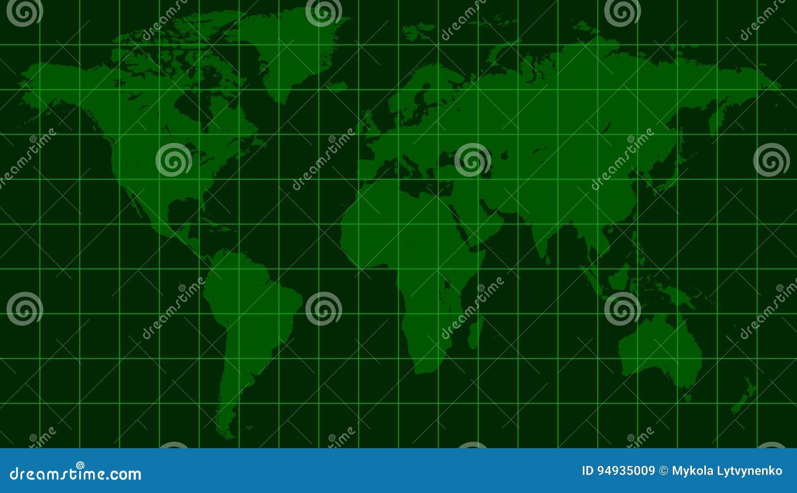 World map earth dark green radar screen matrix style stock vector world map earth dark green radar screen matrix style gumiabroncs Choice Image