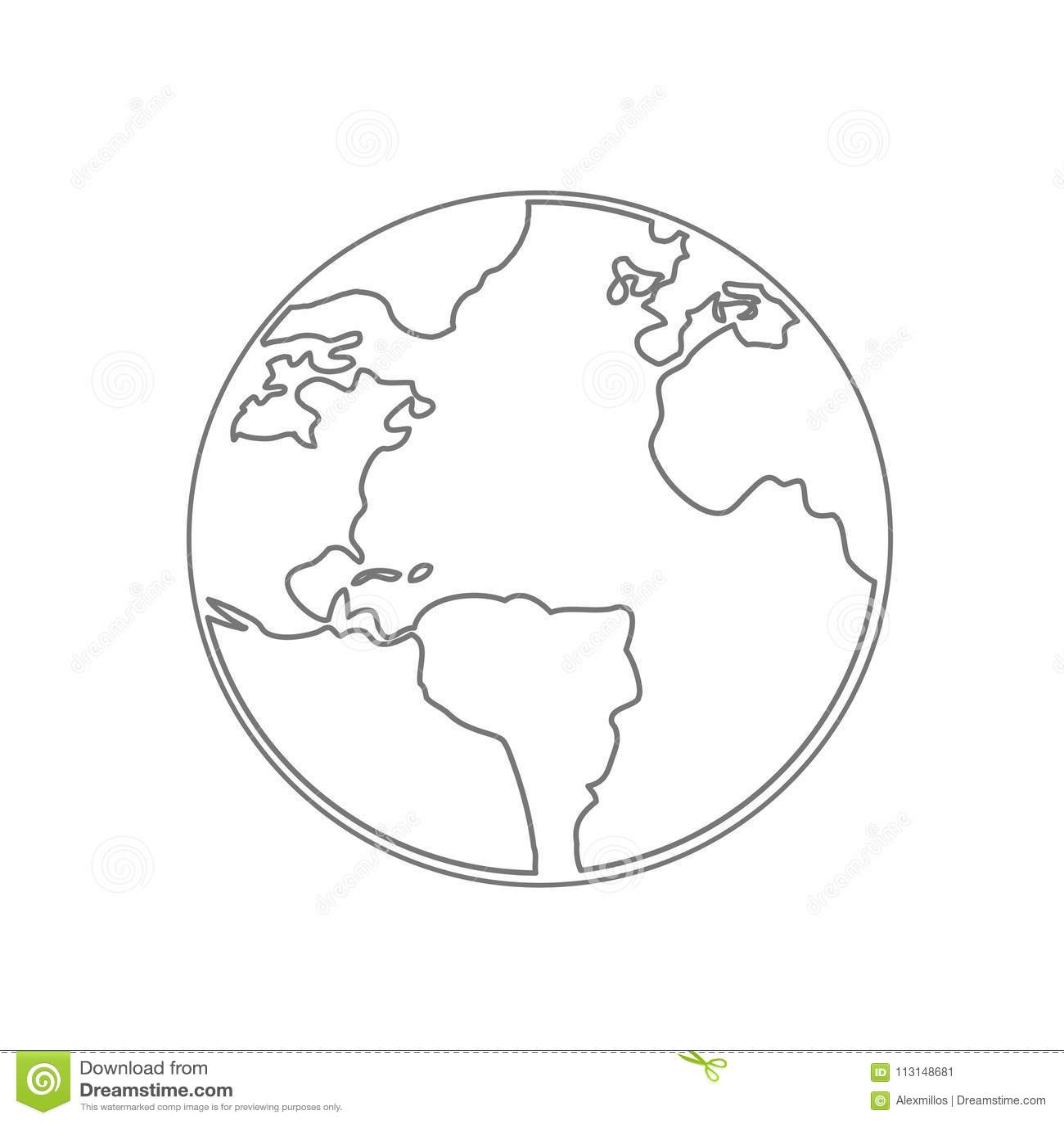 World Map Earth Globe Vector line Sketched Up Illustrator.