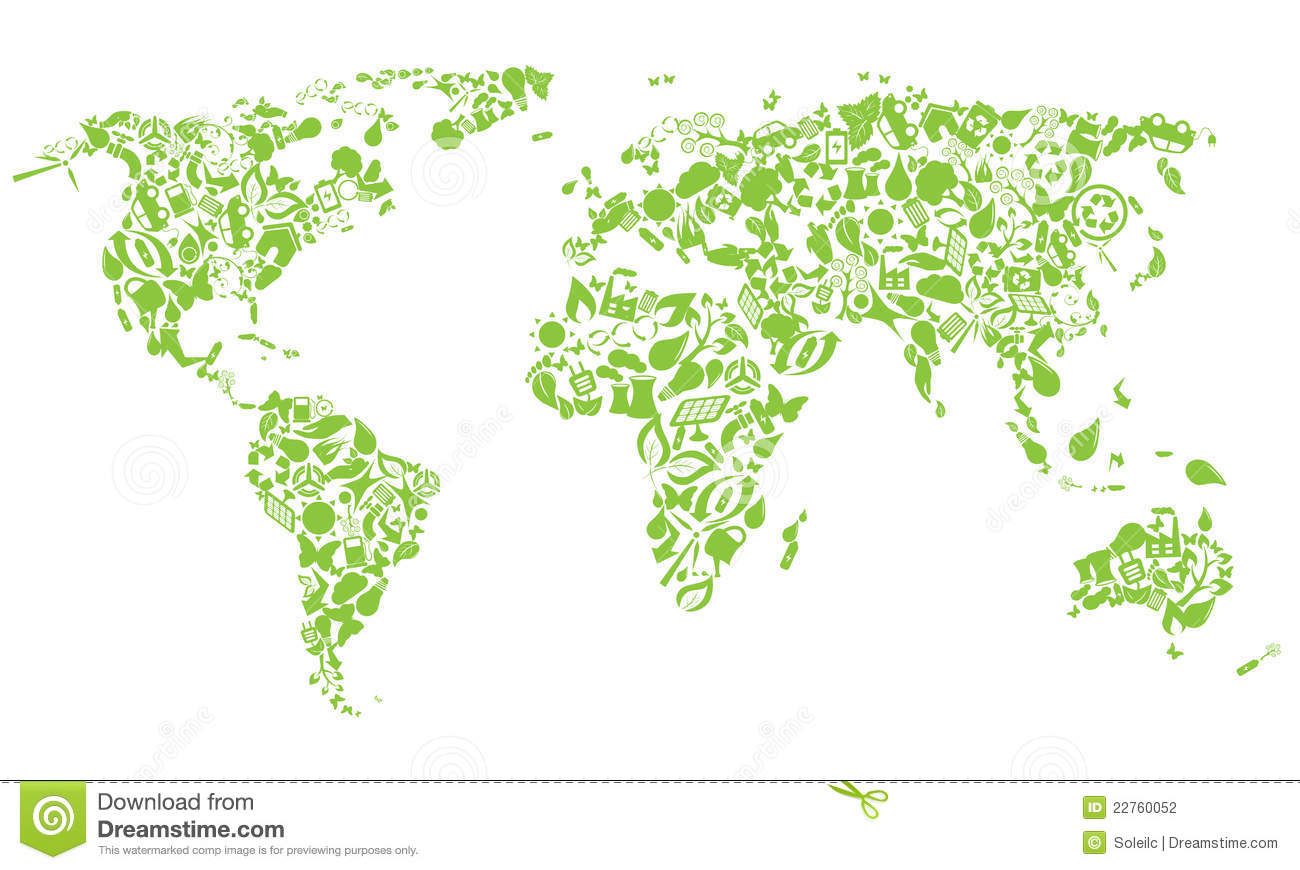 World map of eco icons stock vector illustration of environment download comp gumiabroncs Images