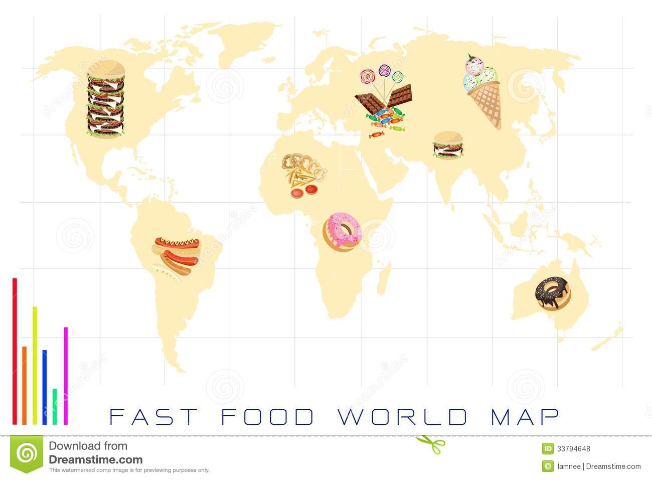 World map with fast food and sweet food stock vector illustration download comp gumiabroncs Choice Image